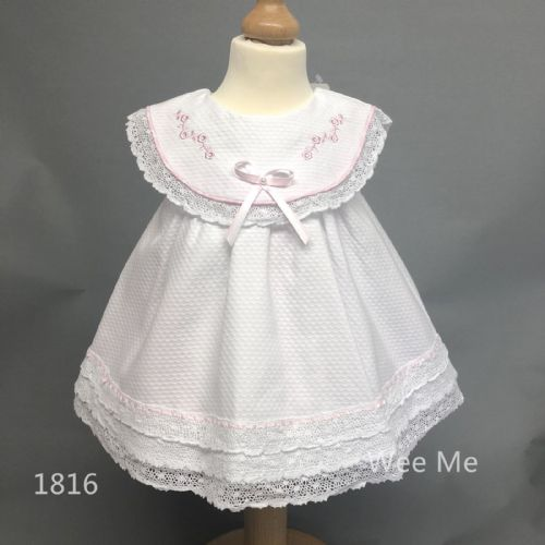 Beautiful Wee Me Baby Girl White Spanish Dress Embroidered Collar